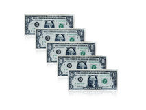 One dollar banknotes. Row of one dollar banknotes Stock Photo
