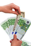 One Dollar and banknotes 100 euros Royalty Free Stock Photos
