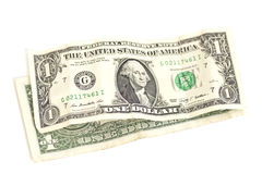 One dollar banknotes isolated Royalty Free Stock Photography