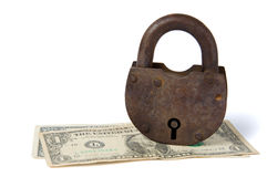 One dollar banknotes and rusty padlock Royalty Free Stock Photo