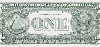 One Dollar Bill Back Close Up Stock Images