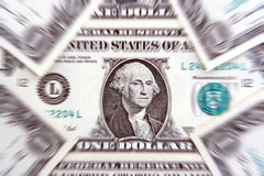 One Dollar Bill Background. New one dollar bills with a combination of zoom effects applied to all but the oval with George Washington which remains in focus Stock Photography