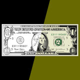 One Dollar Bill Background. An illustration of a one dollar bill on a green and black background Stock Image