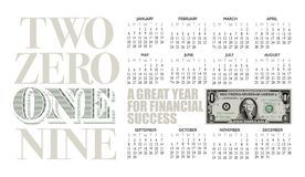 2019 one dollar bill calendar with graphic headline. stock photography