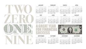 2019 one dollar bill calendar with graphic headline. vector illustration