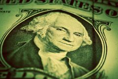 One dollar bill close up. Focus on George Washington eyes Royalty Free Stock Photography