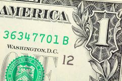One dollar bill closeup Royalty Free Stock Image