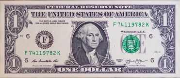 One Dollar bill closeup view stock image