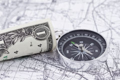Free One-dollar Bill, Compass And Map Stock Photos - 52432633