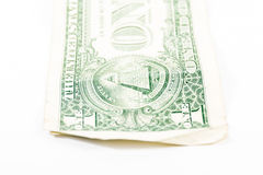 One Dollar Bill Detail Closeup White Background  Currenc Royalty Free Stock Photography