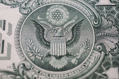 One dollar bill down back reverse side, bald eagle, 13 arrows an Royalty Free Stock Image