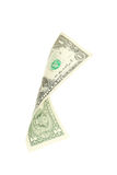 One dollar bill falling on white background. Royalty Free Stock Images