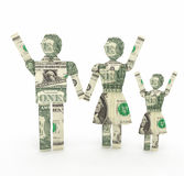 One dollar bill family origamy 3D rendering Stock Images