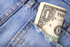 One Dollar Bill in Jeans Pocket Stock Image