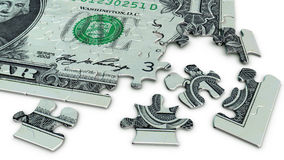 One dollar bill jigsaw puzzle. 3D illustration of a one one dollar banknote as jigsaw puzzles with scattered puzzle pieces on white background Royalty Free Stock Images