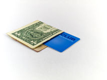 One Dollar Bill and Membership Club Card on White Royalty Free Stock Image