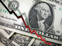 One Dollar Bill-Negative Trend Line Stock Photos