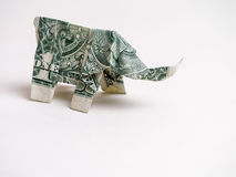 One Dollar Bill Origami Elephant Stock Photo