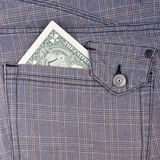 One dollar bill in pocket Stock Photography
