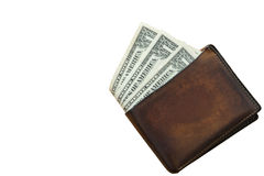 One dollar bill wallet, isolated Royalty Free Stock Image