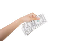 One dollar bill. Woman hand holding one dollar bill Stock Images
