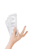 One dollar bill. Woman hand holding one dollar bill Royalty Free Stock Images