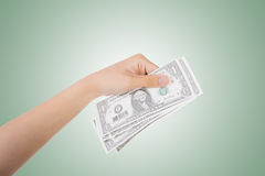 One dollar bill. Woman hand holding one dollar bill Royalty Free Stock Photos