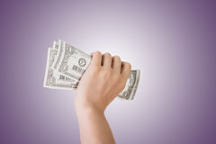 One dollar bill. Woman hand holding one dollar bill Royalty Free Stock Photography