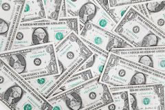 One dollar bills. Spread out to for a background Royalty Free Stock Image