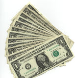 One dollar bills. Fanned out one dollar bills Royalty Free Stock Photo
