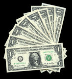 One dollar bills. Extreme close up of american one dollar bills Royalty Free Stock Photos