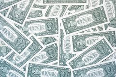 One dollar bills from the back, simple background of one dollars stock images