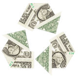 One dollar bills in a recycle symbol. Isolated on white background. Concept of revenue, reinvest, return Stock Image