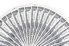 One dollar bills on a white background Stock Photo