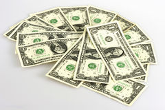One dollar bills. On a white background Stock Image