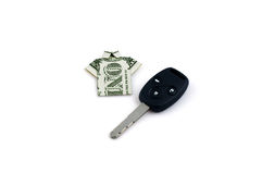 One dollar and  car key Royalty Free Stock Photo