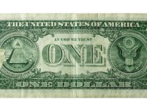 One dollar close up shot. On white Royalty Free Stock Image
