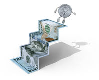 One dollar coin climbs above 100 dollar banknote. Folded as steps on white background, 3d illustration Stock Illustration