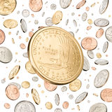 One Dollar Coin falling Royalty Free Stock Photo
