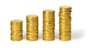 One Dollar Coins Money stock photo