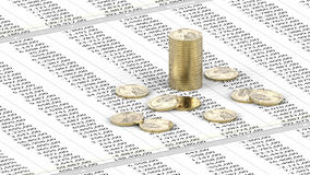 One Dollar coins on spreadsheet Stock Photography