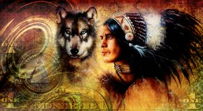 One dollar collage with indian man warrior with wolf, ornament background. Royalty Free Stock Image