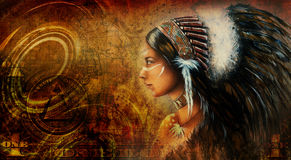 One dollar collage with indian woman warrior, ornament background Stock Image