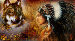 One dollar collage with indian woman warrior and wolf, ornament background Royalty Free Stock Photography