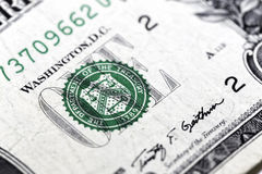 One Dollar. A dollars logo in a bank note Royalty Free Stock Image