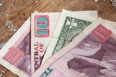 One dollar with egyptian money Stock Image