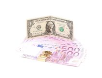 One dollar and five euro notes. Royalty Free Stock Image