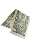 One dollar is folded in half. Isolated. Stock Image