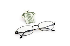 One dollar and glasses. One dollar like tshirt and car key as symbol of success stock images