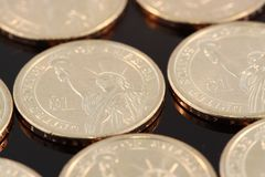 One dollar gold coins Stock Photography